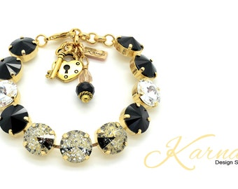 GOLDEN GODDESS 12mm Rivoli Crystal Bracelet Made With Swarovski Elements *Pick Your Finish *Karnas Design Studio *Free Shipping*