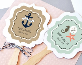 Nautical Wedding Favor Fans - Paddle Fan - Hand Fan Beach Wedding Favors Personalized Paper Fans Custom Wedding Fans (EB2354TZ) - set of 24|