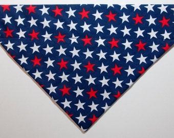Bold stars patriotic dog bandana slides over the collar