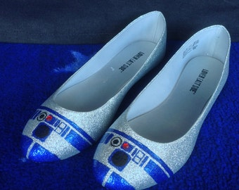 Hand-painted R2-D2 Glitter Flats Women's Shoes