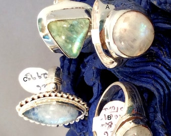 Size 6 Sterling Silver Ring, Rainbow Moonstone. free US ship.