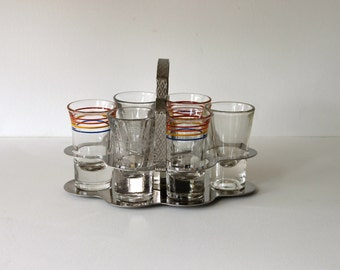 Mid Century  Shot Glass Caddy with Shot Glasses