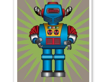 MISSILE COMMANDER  Retro Robot Print - Personalized name poster art print