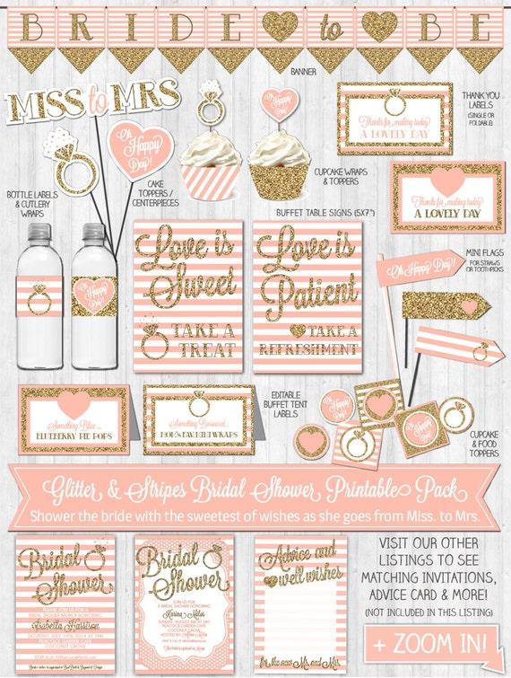 INSTANT DOWNLOAD - Bridal Shower Decor, Gold Glitter & Blush Pink Bridal Shower Decoration Party Pack, Banner, Thank You Card, DIGITAL files