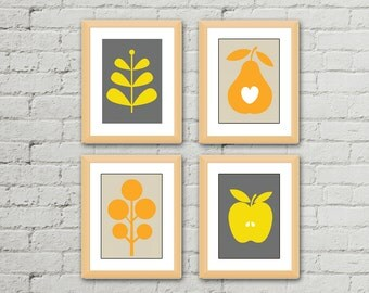 Kitchen Wall Art - Kitchen Wall Decor - Kitchen Print Set - Kitchen Art - Modern Kitchen Print Set - Set of 4 Prints