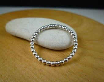 Sterling silver bead ring stacking ring