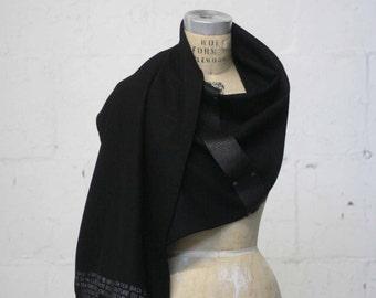 019 Black Men's Wool Scarves , Leather Winter Accessories , Printed Scarves