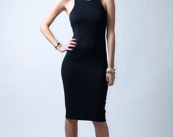 Black Ponte Dress / Midi Dress / Party Dress / Sheath Dress with Racer Back and Front / Casual Dress / by marcellamoda - MD081