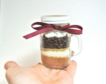 Hot Chocolate Mini Mason Jar Mug, 4 oz Mason Jar Mug, Milk Chocolate Hot Cocoa Mix, Layered Mix, Corporate Gift, Favor, Stocking Stuffer