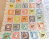 Teddy Bear Blanket Crochet White Rainbow Pastel Custom Tummy Time