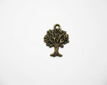 SALE - 10 Tree Charms in Bronze Tone - C673