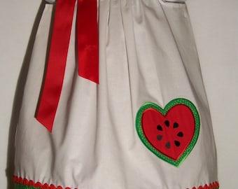 Watermelon Pillowcase Dress / Heart / Red / White / Green / Summer / Girl / Infant / Baby / Girl / Toddler / Custom Boutique Clothing
