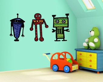 Extra Large size Robot decal- kids room decor- fabric removable decal