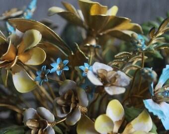 vintage enameled metal flower arrangement designed by Jane Hutcheson for Gorham - 1970s - gold-plated - porcelain vase