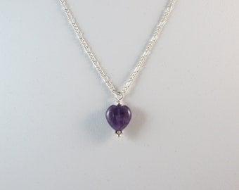 Amethyst Pendant - Heart Pendant - Amethyst Charm - Heart Charm - Amethyst Necklace - Heart Necklace - Sterling Silver