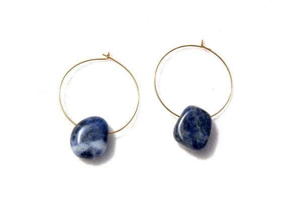 Mothers Day Gift, Dainty Blue Earrings, Sodalite Earrings, Small Gold Hoops, Gold Hoop Earrings, Simple Gold Earrings, Simple Blue Earrings