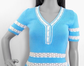 Knit top, knit pullover, short sleeveed pullover, teal t-shirt, summer top, turquoise top, polo shirt, women knitwear, blue top, pullover