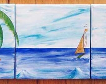 "Beach mural, Three 6"" tiles for use as a kitchen backsplash, outdoor mural, fire place, bathroom wall"