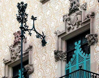 Barcelona Architecture print, Travel photography, urban art, Turquoise Decor, Fine Art, Art Nouveau