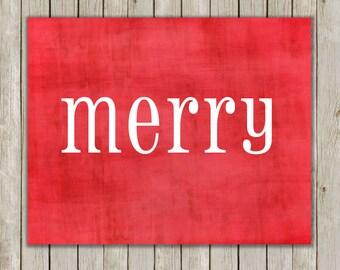 8x10 Christmas Printable Decor, Merry Art Print, Typography Print, Digital Art Print, Red Holiday Decor, Holiday Wall Art, Instant Download