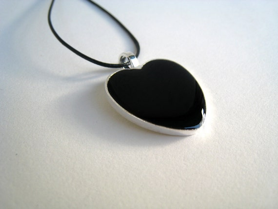 Black Heart necklace, black resin necklace, heart charm, black glass necklace, teenager anniversary gift, bridesmaid gift, mothers day gift