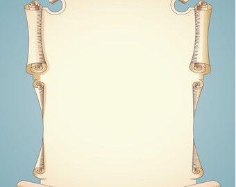 Menu Background Template Vector Illustration Antique Parchment Scroll Paper