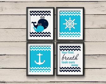 Nautical Nursery Art, Baby Boy Whale Nursery Decor, Your first breath took ours away, Whale Nursery Art, Whale Nursery Nautical decor-4 8x10