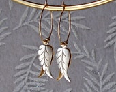 Boho Leaf Hoop Earrings Art Nouveau  Vintage Silver Gold Filled Wedding Bride Bridesmaid Anniversary Birthday Christmas Winter Holiday Gift