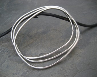 Oval bangles, silver bangles, stacking bracelets, heavy bangles, organic bangles, set of 3 bracelets, heavy weight, bangle set