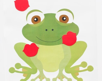 Pin The Kiss On The Frog Game, Girls Party Game, Kids Party Game, Kiss The Frog, GM002