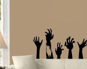 zombie hands huge halloween wall decal