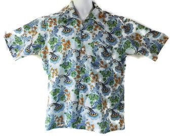 70s Shirt, Mod, Hippie Boho, Flower Power, Psychedelic. Blue, Campus