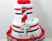 Nautical diaper cake-Baby boy diaper cake-Baby shower gift