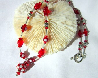 Red Lampwork Bead Necklace, Red Glass Beads and Silver   ID 306