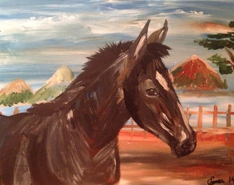 My Beauty, a horse I would love to own-hope you do too. 18x24 inch acylic on traditional canvas .