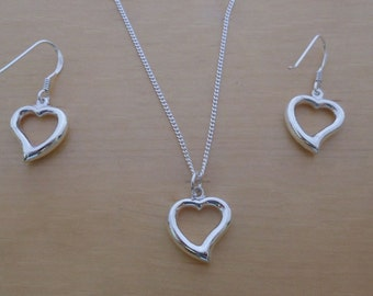 """925 Sterling Silver Drop Dangling Cut Out Love Heart Earrings and Pendant Set on 16, 18 or 20"""" Sterling Silver Curb Chain"""