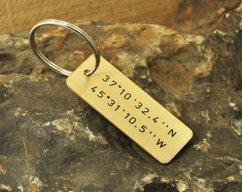 Personalized Copper Latitude Longitude Key Chain, Handstamped Message Names Date Initials Coordinates - Men Family Boyfriend Christmas Gift