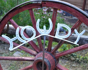 Howdy Sign, made from horseshoes