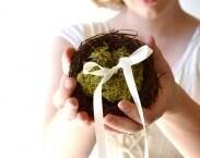 Woodland Ring Bearer Pillow, Twig Nest and Moss Ring Bearer Pillow, Woodland wedding decor, Wedding Pillow - NEST