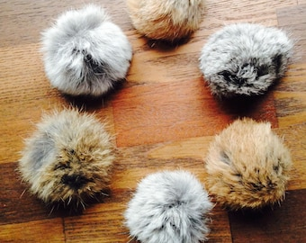 Rabbit Fur Cat Toy, Natural Color Fur, Fur, Fur Ball, Cat, 6 per pack, Cat Toy, Handmade, Max