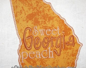 GEORGIA State Applique, Sweet Georgia Peach - INSTANT Download Machine Embroidery Design by Carrie