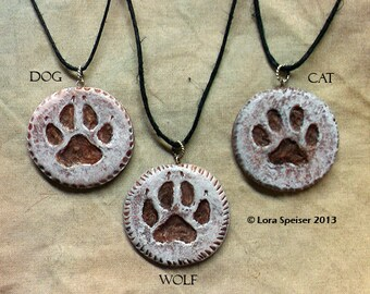 Custom Sculpture Totem Wolf, Cat, Dog, Deer, Elk, Moose, Bear Track Paw Print Necklace Pendant Sterling Silver Ring Bail Fiber Cord