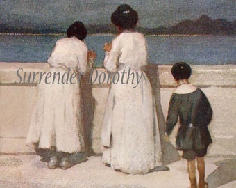 Evening In Rio Harbour A S Forrest 1910 Original Vintage Edwardian Watercolor Lithograph To Frame