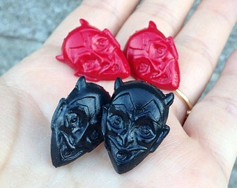 El Diablo Post Earrings - Devil Satan Halloween - Hand Cast Resin