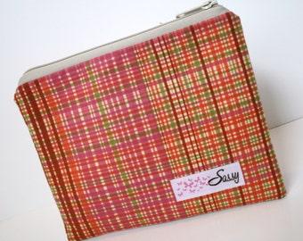 Preppy Plaid Fabric Cosmetic Bag, Medium Size Make up Bag, Makeup Travel Bag, Lined Makeup Bag