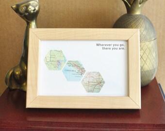 Gift for Him Travel Gift Map Art Custom Framed Geometric Hexagon Recycled Maps