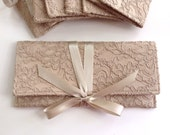 Champagne lace bridesmaid clutch // taupe latte neutral formal clutch purses // custom colors available
