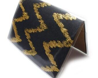 Passport Cover - Black Gold - black and gold glitter sparkle chevron passport holder - travel accessory