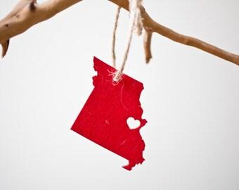 Missouri State Ornament - Red Felt - Missouri Ornament Holiday Gift Stocking Stuffer MO Charm Car Mirror