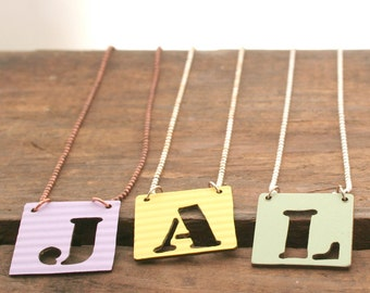 Initial necklace for kids, letter pendant on copper chain. Great child birthday present